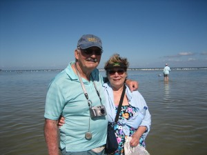 Jack and Jan with Clark and the White Pelicans in the background