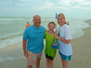 Family Captiva beach with seashells