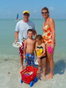 Family on Sanibel beach