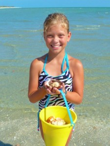 Girl with Sanibel shells