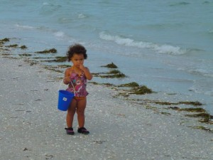 Baby with shell bucket on Sanibel
