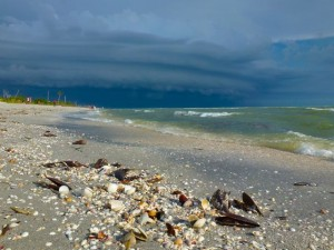 Sanibel beach stormy sky
