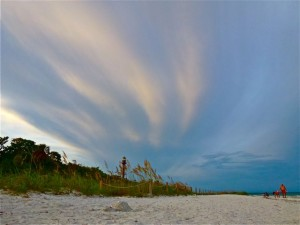 swirling sky about Sanibel lighthouse