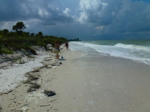 Barefoot beach at high tide