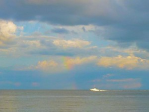 Sanibel rainbow with boat