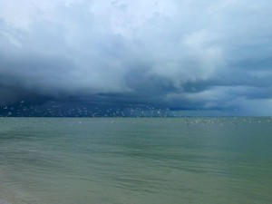 Sanibel stormy sky with gulls