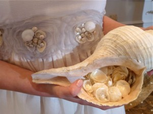 brides maid dress with seashell
