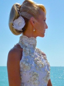 bride seashell gown hair piece
