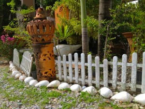seashells lined yard thailand rice