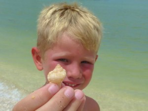 boy with seashell