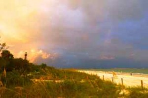 sanibel lighthouse rainbow light