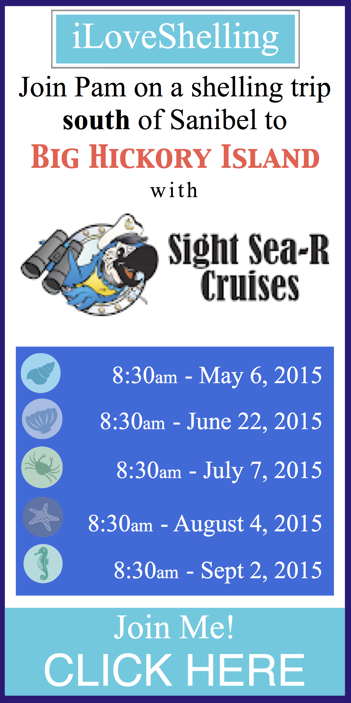 seashell shelling cruise schedule