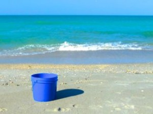 blue shell bucket aqua water
