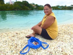 lisa blue shell bag sanibel