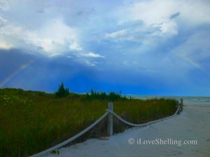 rainbow over Sanibel beach path