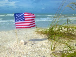 american flag sanibel beach