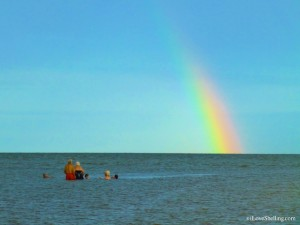 rainbow over sanibel water shellers