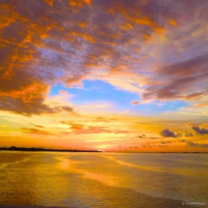blue sky orange sanibel sunset