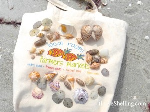 Local Roots farmers market tote with shells