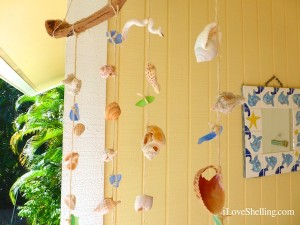 broken seashells and sea glass mobile