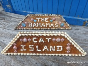 cat island sign made of shells