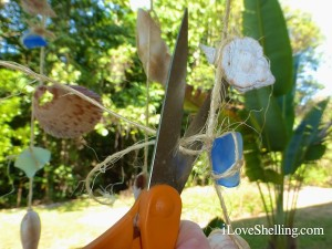 how to add sea glass to seashell mobile