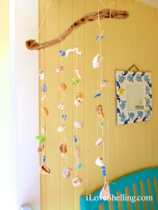 how to make a seashell sea glass mobile