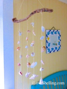 island seashell mobile strung with twine