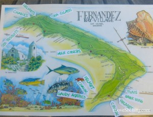 Fernandez Bay Cat Island shell Map
