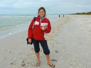jessica finds shells on florida beach