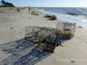 crab traps wash up n sanibel beach