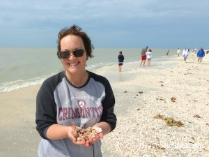 Amy from Huntsville finds shells on Sanibel Island Florida
