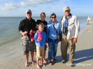 sean, lori, ellie, wanda karl from indiana shell sanibel