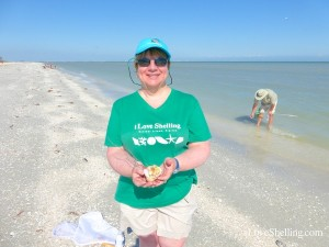 Carol with seashells at Sanibel Shellabaloo