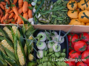 Sanibel farmers market vegetables made from seashells