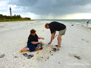 shelling at the Sanibel lighthouse with rain