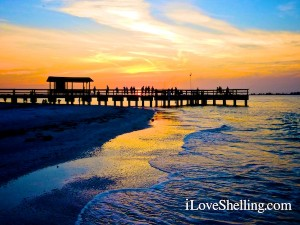 sunset over Sanibel fishing pier