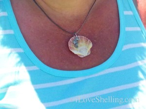 how to make flat scallop shell into necklace