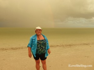 Holly from Ft Myers in front of Sanibel Rainbow