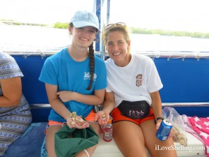 Kelsea and Lori from SC find shells on a shelling cruise
