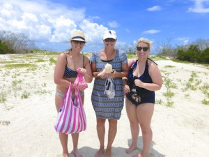 Rachel, Brenda, Danielle find seashells on a west coast Florida island
