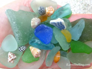 Seaglass, small shells and pottery collected at Glass Beach Guantanamo