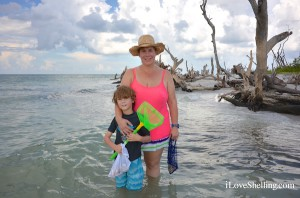 Abbie and Cooper from Colorado find shells in Florida