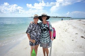 Holly (OH) and Karen (FL) find shells on island off Sanibel