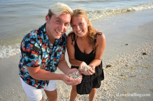 Joey and Ashley happy finding seashells on Sanibel Island