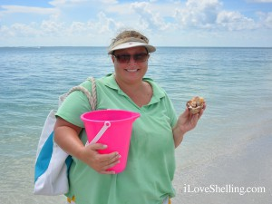 Lisa collects shells on island off Sanibel