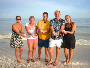 Miyuki Laura Josh Joey Ashley on Sanibel with shells