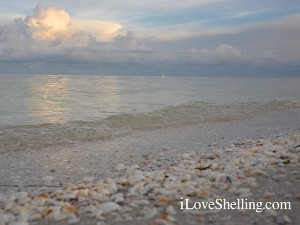 Sanibel water scene with clouds