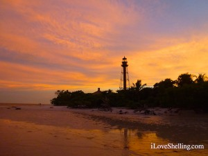Sanibel lighthouse at sunset