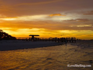 Sanibel pier at sunset